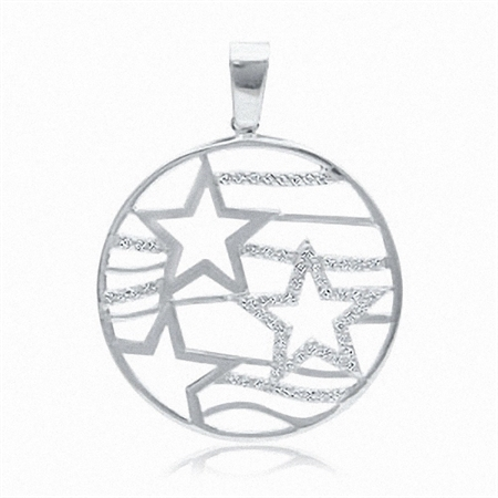 White CZ 925 Sterling Silver Star Disc Circle Pendant