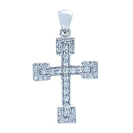White Cubic Zirconia (CZ) Sterling Silver Cross Pendant