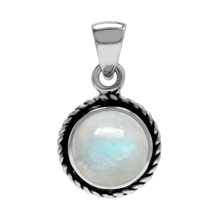 Natural Moonstone 925 Sterling Silver Rope Solitaire Pendant