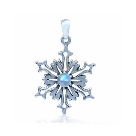 Clearance! Natural Moonstone 925 Sterling Silver Snowflake Pendant