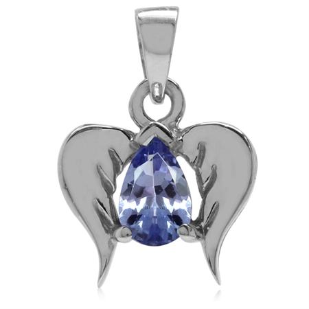 Genuine Tanzanite 925 Sterling Silver Angel Wings Pendant
