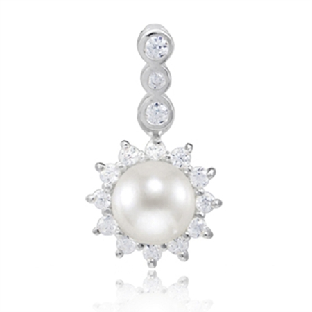 Cultured Freshwater White Pearl & CZ 925 Sterling Silver Sunflower Pendant