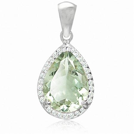 10.49ct. HUGE Natural Green Amethyst & White Topaz 925 Sterling Silver Teardrop Pendant