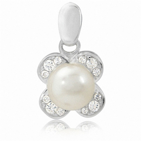 Cultured White Pearl & CZ 925 Sterling Silver Flower Pendant