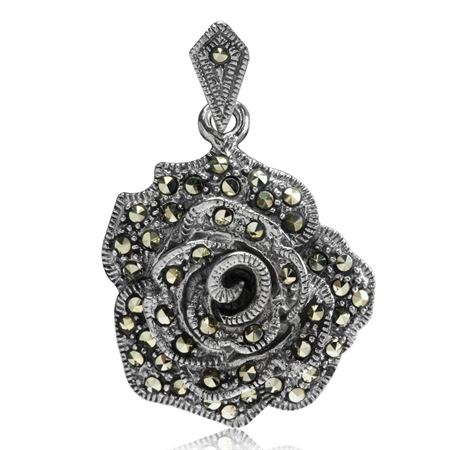 Marcasite Antique Finish 925 Sterling Silver Rose/Flower Pendant