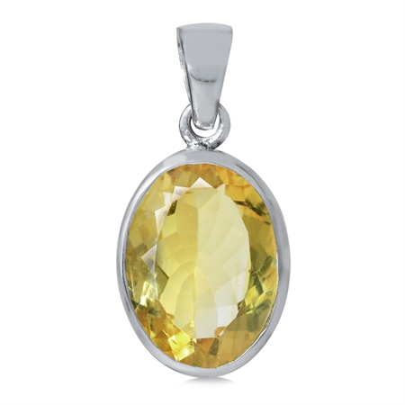 5.34ct. 14x10MM Natural Oval Shape Citrine 925 Sterling Silver Solitaire Pendant