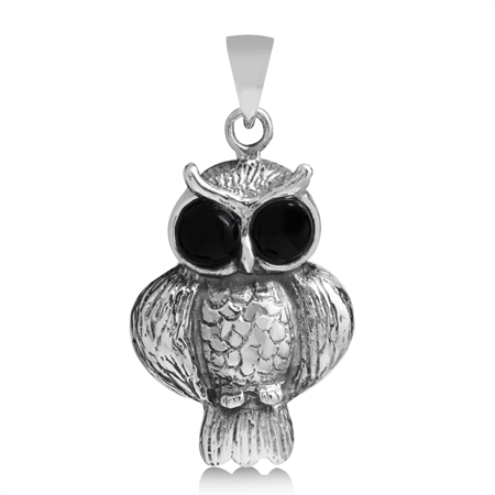 Created Black Onyx 925 Sterling Silver WISE OWL Pendant