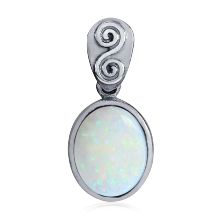 Created White Opal 925 Sterling Silver Swirl & Spiral Solitaire Pendant