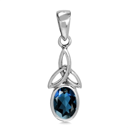 Genuine London Blue Topaz 925 Sterling Silver Triquetra Celtic Knot Pendant