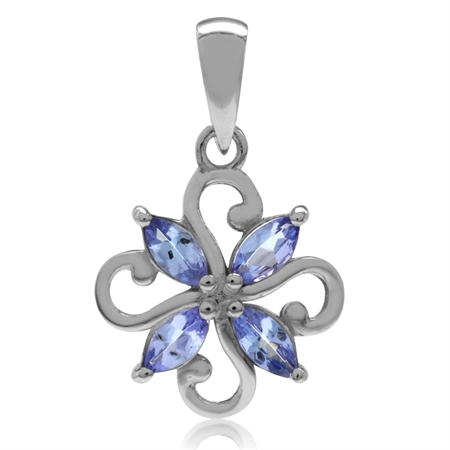 Genuine Tanzanite White Gold Plated 925 Sterling Silver Victorian Style Flower Pendant