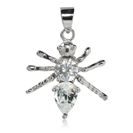 CZ White Gold Plated 925 Sterling Silver Ant/Bug Pendant