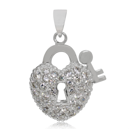 CZ White Gold Plated 925 Sterling Silver Heart Lock & Key Pendant