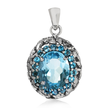 4.3ct. Genuine Blue & London Blue Topaz 925 Sterling Silver Leaf Vintage Style Pendant