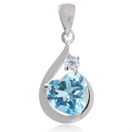 2.14ct. Genuine Heart Shape Blue & White Topaz 925 Sterling Silver Drop Pendant