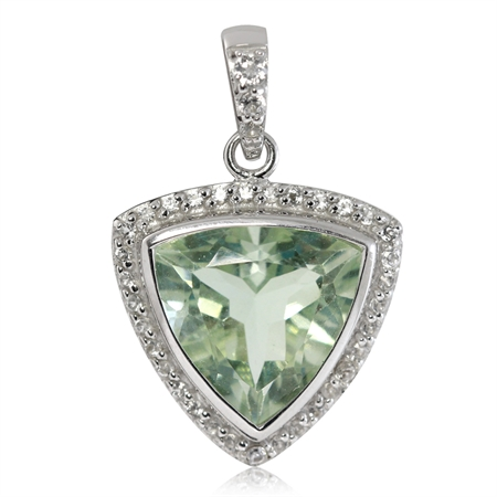 5.56ct. 12MM Natural Trillion Shape Green Amethyst & White Topaz 925 Sterling Silver Pendant