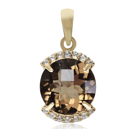 4ct. 11MM Natural Round Shape Smoky Quartz & Topaz 14K Gold Plated 925 Sterling Silver Pendant