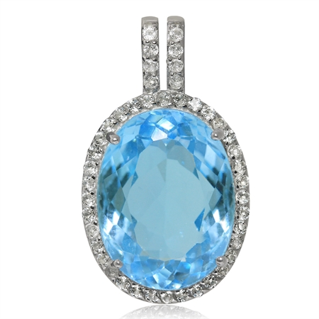 HUGE 11.54ct. Genuine Blue Topaz White Gold Plated 925 Sterling Silver Pendant