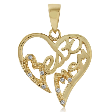 Natural White Diamond 14K Gold Plated 925 Sterling Silver BEST MOM in Heart Pendant
