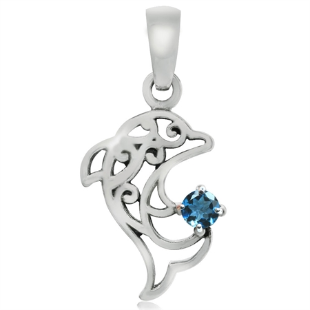 Genuine London Blue Topaz 925 Sterling Silver Dolphin Filigree Solitaire Pendant