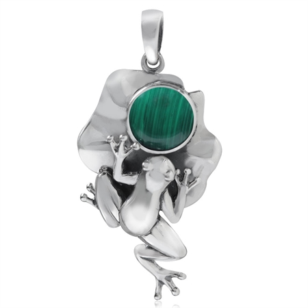 Created Malachite 925 Sterling Silver Lotus Leaf & Frog Pendant