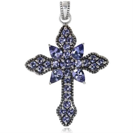 3.03ct. Genuine Tanzanite 925 Sterling Silver Vintage Style Cross Pendant