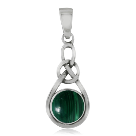 Malachite 925 Sterling Silver Celtic Knot Solitaire Pendant