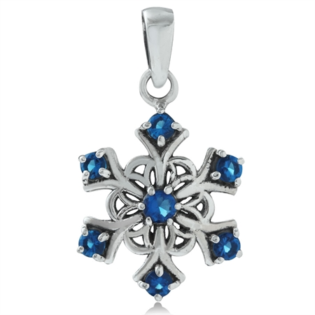 Sapphire Blue CZ 925 Sterling Silver Snowflake Cluster Pendant