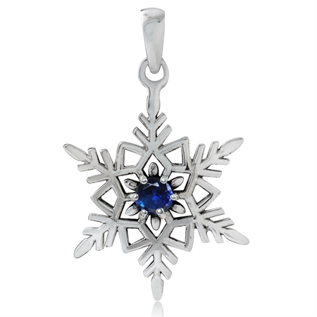 Sapphire Blue CZ 925 Sterling Silver w/Antique Finishing Snowflake Pendant