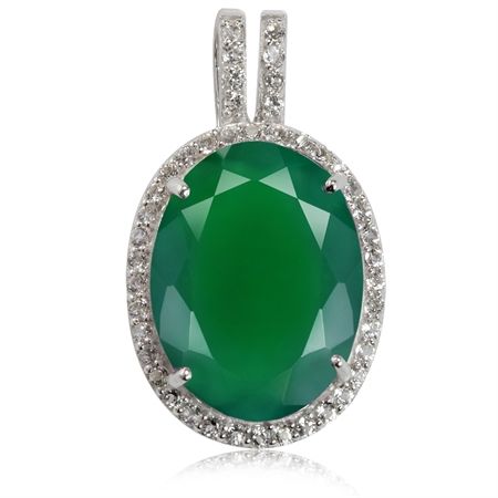 HUGE 7.78ct. Natural Emerald Green Agate & White Topaz Gold Plated 925 Sterling Silver Pendant