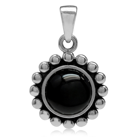 8MM Created Black Onyx 925 Sterling Silver Bali/Balinese Style Pendant
