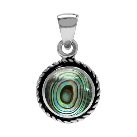 Abalone/Paua Shell Inlay 925 Sterling Silver Rope Solitaire Pendant