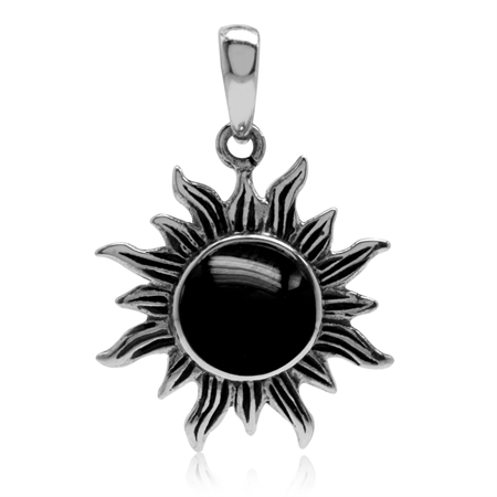 Created Black Onyx Inlay 925 Sterling Silver Sun Ray Inspired Pendant