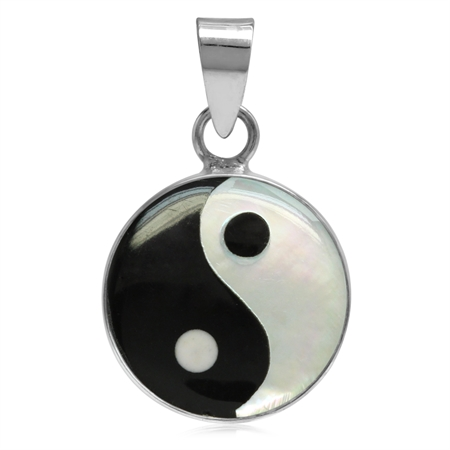 14MM White Mother Of Pearl & Created Black Onyx 925 Sterling Silver Yin Yang Pendant