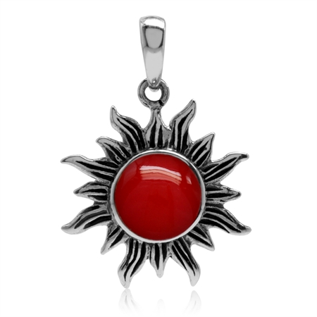 Created Red Coral 925 Sterling Silver Sun Ray Inspired Pendant