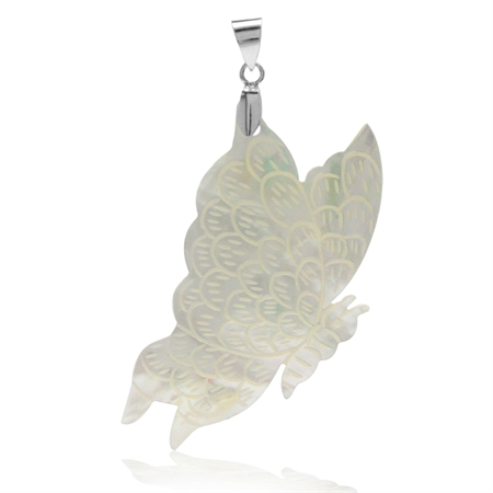 HUGE White Mother Of Pearl 925 Sterling Silver Butterfly Pendant