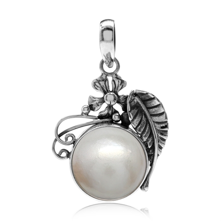 Cultured White Mabe Pearl 925 Sterling Silver Flower & Leaf Pendant