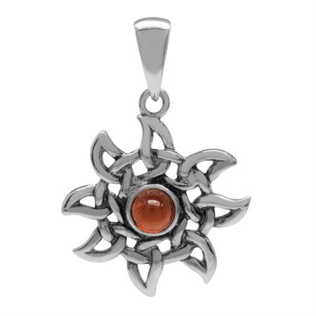 Petite Cabochon Garnet 925 Sterling Silver Celtic Knot Sun Ray Inspired Pendant