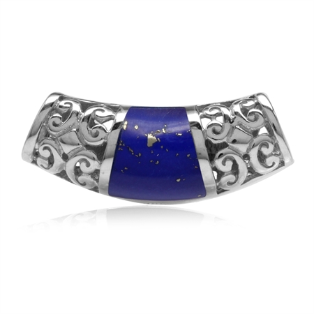 Created Lapis Inlay White Gold Plated 925 Sterling Silver Filigree Slide Pendant