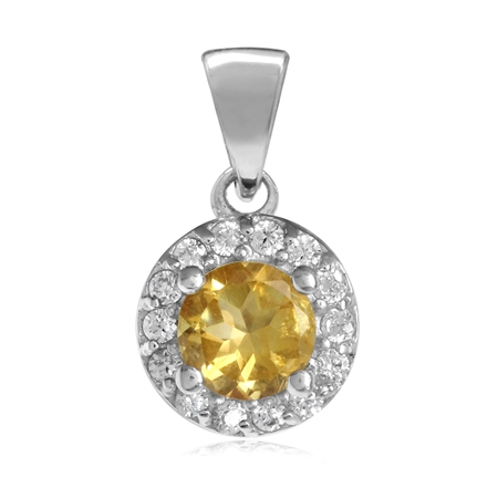 5MM Natural Citrine & White CZ Gold Plated 925 Sterling Silver Halo Pendant