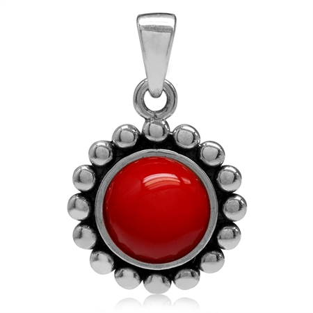 8MM Created Red Coral 925 Sterling Silver Bali/Balinese Style Pendant