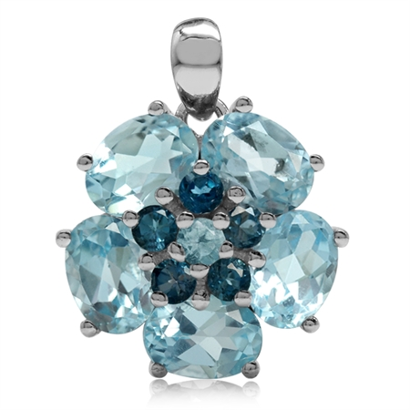 7.69ct Genuine Blue Topaz & London Blue Topaz 925 Sterling Silver Flower Cluster Pendant
