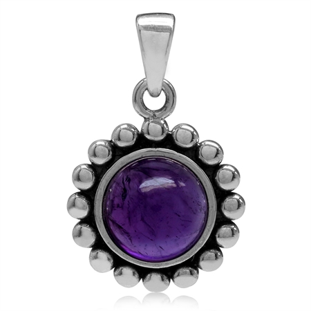 8MM Cabochon Amethyst 925 Sterling Silver Bali/Balinese Style Pendant