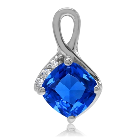 Cushion Shape Synthetic Sapphire Blue & White CZ 925 Sterling Silver Classic Pendant