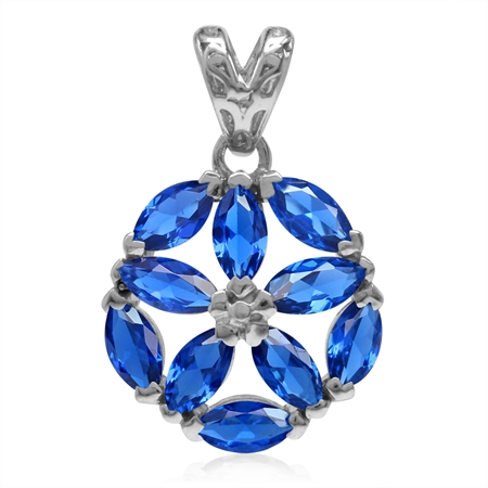 Marquise Shape Synthetic Sapphire Blue White Gold Plated 925 Sterling Silver Flower Pendant