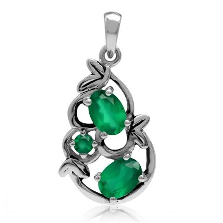 1.54ct. Natural Oval Shape Emerald Green Agate 925 Sterling Silver Leaf Vintage Inspired Pendant