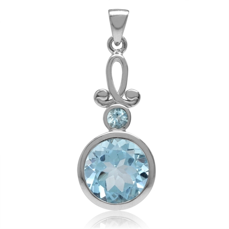 4.6ct. 10MM Genuine Round Shape Blue Topaz White Gold Plated 925 Sterling Silver Swirl Pendant