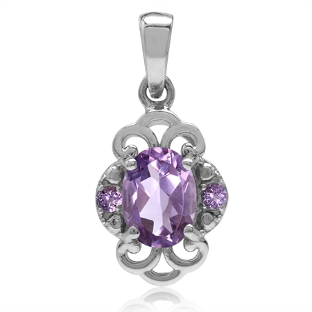 1.22ct. Natural Amethyst White Gold Plated 925 Sterling Silver Filigree Pendant
