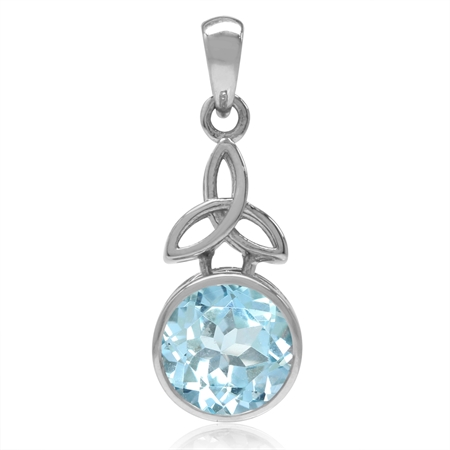3.21ct. 9MM Genuine Round Shape Blue Topaz 925 Sterling Silver Triquetra Celtic Knot Pendant