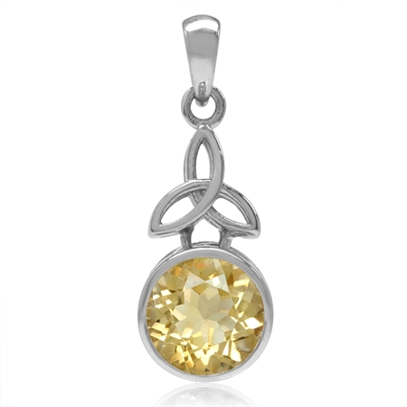 2.43ct. 9MM Natural Round Shape Citrine 925 Sterling Silver Triquetra Celtic Knot Pendant