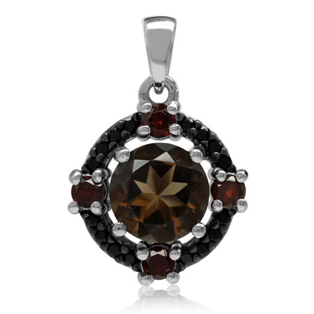 Natural Round Shape Smoky Quartz, Garnet & Black Spinel 925 Sterling Silver Pendant